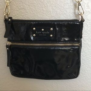 KATE SPADE black small crossbody with gold hardwar